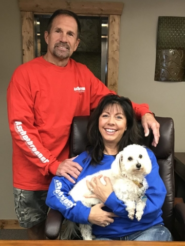 Owners Mike & Michelle Aschenbrenner with Toby